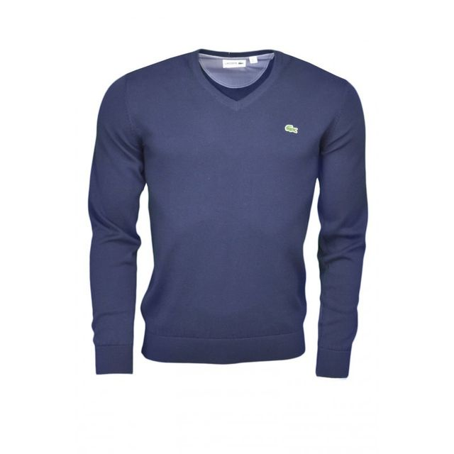 2135bce042 Lacoste - Pull col V bleu marine pour homme - pas cher Achat / Vente Pull  homme - RueDuCommerce