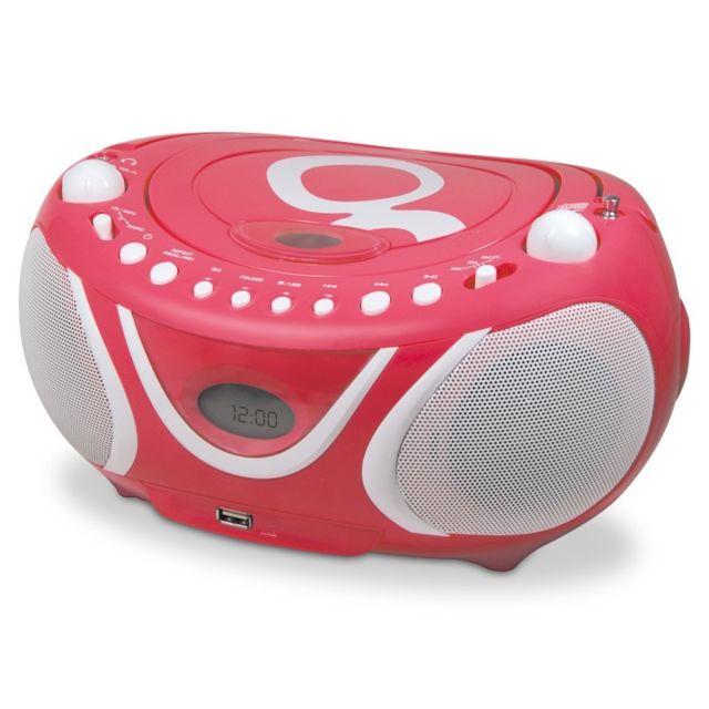 metronic radio cd mp3 fm gulli avec port usb rose pas. Black Bedroom Furniture Sets. Home Design Ideas