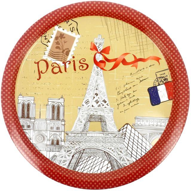 Promobo Plateau Rond En Métal Déco Vintage Rétro Collection City Paris
