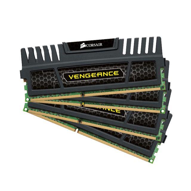 CORSAIR Mémoire Kit de 4 Barrettes DDR3 PC3-12800 - 4 x 4 Go 16 Go, 1600 MHz - CAS 9 - Vengeance Kit de 4 Barrettes CORSAIR DDR3 PC3-12800 - 4 x 4 Go ( 16 Go) 1600 MHz - CAS 9 - Vengeance Compatible uniquement avec les cartes-mères supportant la DDR3 !!!