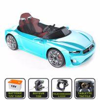 Cristom - Voiture électrique de luxe 12V pour enfant Henes Broon F830 tablette tactile, télécommande Bluetooth bleu