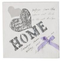 "Paris Prix - Toile Relief Peinte ""Home"" Blanc"