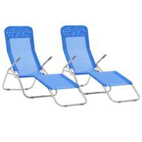 Sièges Textilène Pcs Chaises D'extérieur 2 Nairobi Bleu Longues Pliables Ensemble q3jS4Rc5LA