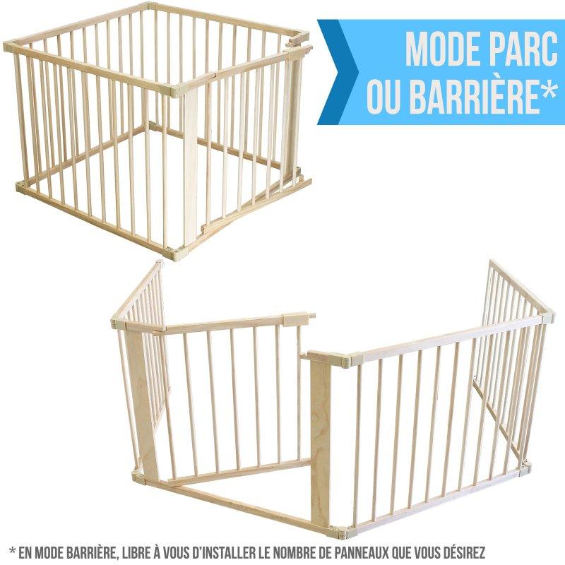 Barrière de Sécurité et Parc Bébé 4 Côtés en Bois - 3.52m