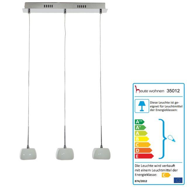 Mendler Lampe suspension, Hw117, abat-jour en verre, 3 flammes