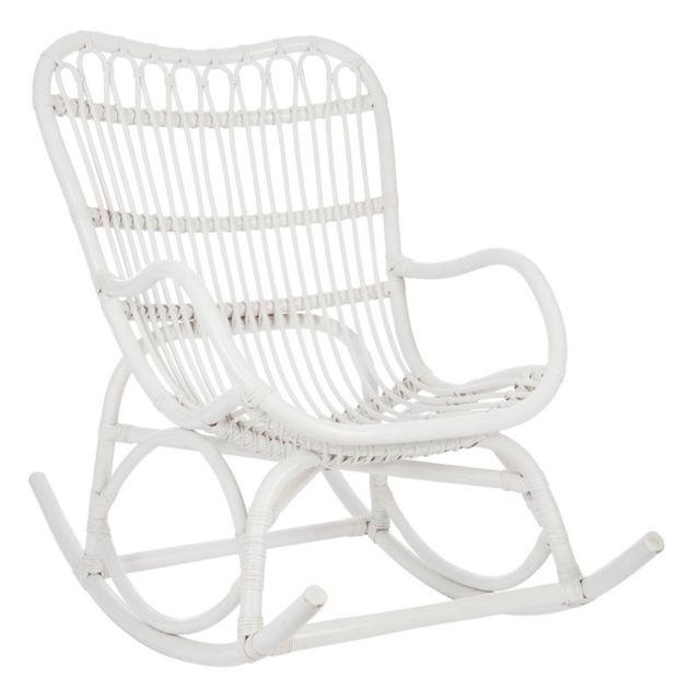 Tousmesmeubles Rocking Chair Rotin blanc - Ricky