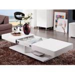 VENTE-UNIQUE - Table basse ARAMIS avec rangements - MDF laqué blanc ...