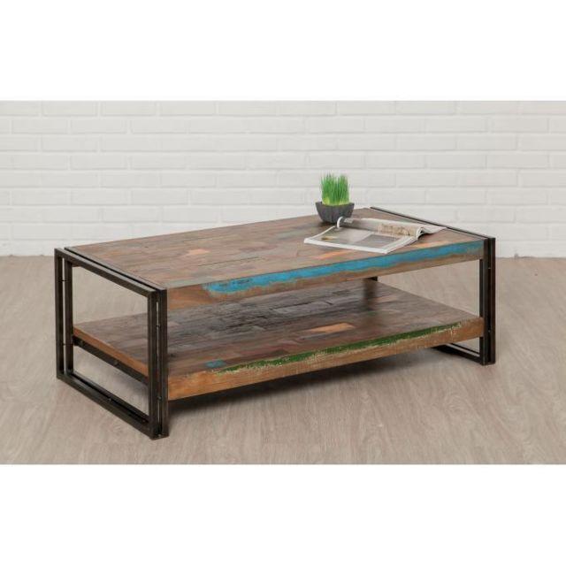 Declikdeco Table Basse Rectangulaire en Teck recyclé et Métal Petra