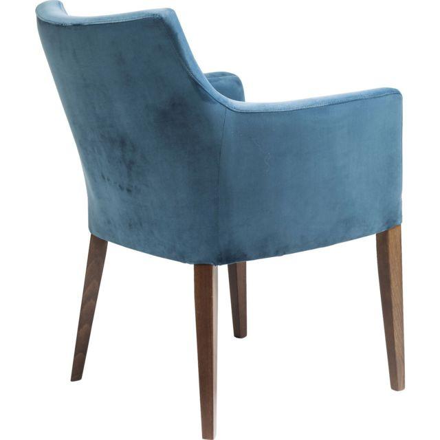 Chaise avec accoudoirs Mode velours bleu pétrole Kare Design