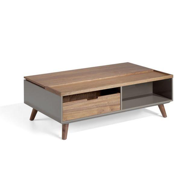 Tousmesmeubles Table basse relevable 1 tiroir Noyer/Laque Moka - Ambes