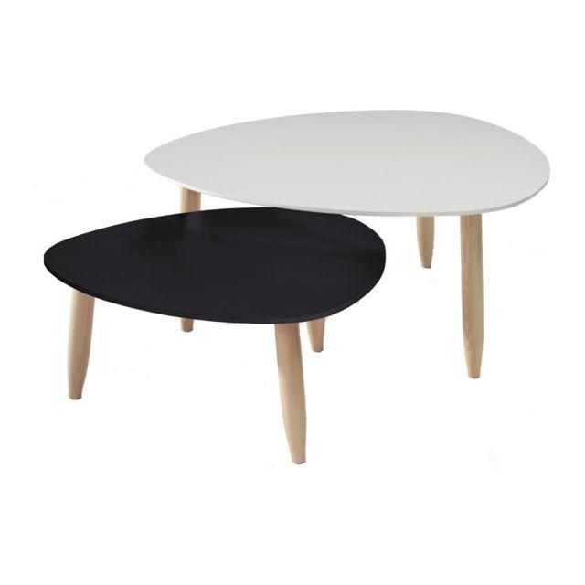 Tousmesmeubles Tables gigognes Blanc/Noir - Ovni - L 80 x l 80 x H 35
