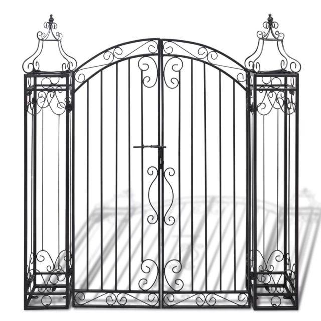 Icaverne - Arches, treillages, tonnelles et pergolas de jardin ensemble Portillon ornemental de jardin Fer forgé 122 x 2