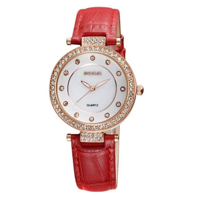Wewoo - Montre rouge pour les femmes mode et concis diamant cadran lunette  montre-bracelet 5cd981b1201