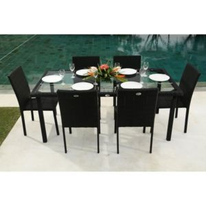 beau rivage ibiza ensemble table de jardin 180 cm et 6 chaises r sine tress e gris anthracite. Black Bedroom Furniture Sets. Home Design Ideas