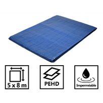 Tecplast - Bâche jardin 80g/m² - bâche bois - bâche de protection plastique bleue 5x8 m en polyéthylène