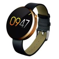 Yonis - Montre Cardio Smartwatch Cuir Bluetooth Podomètre Appels Sms Or