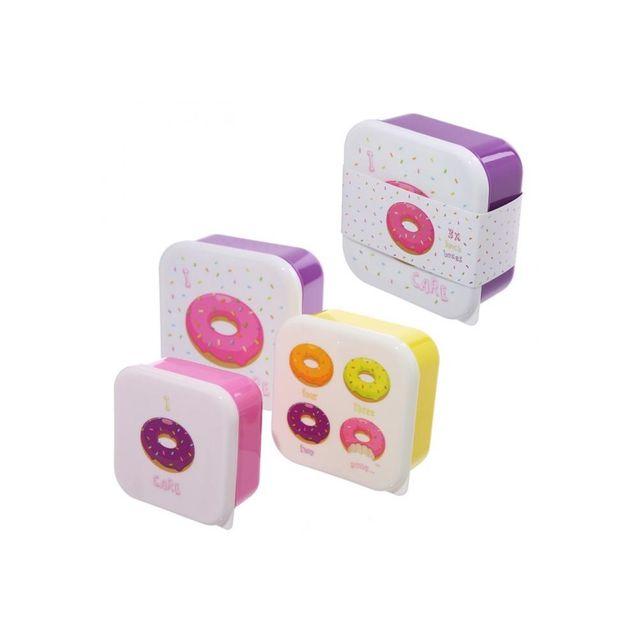 Sans Marque Lot de 3 boîtes repas - Donuts