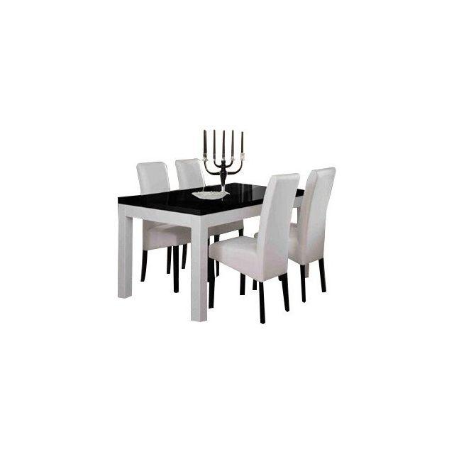 Table Salle À Manger Roma Blanc Et Noir 190CM