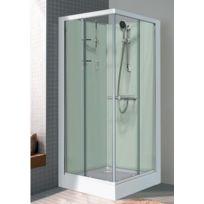 Leda - Cabine de douche Izi Glass carré portes coulissantes verre granité 80 x 80 cm - L11IZ30278