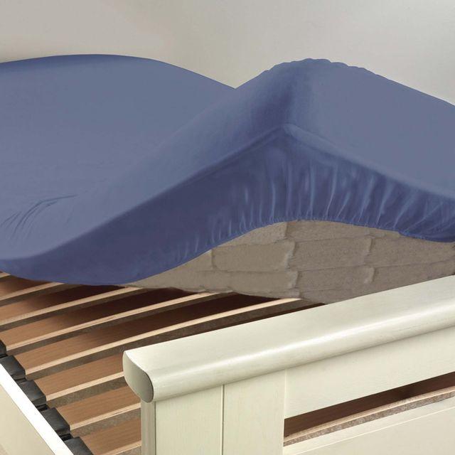 douceur d 39 interieur cdaffaires drap housse 2 personnes 180 x 200 cm uni 57 fils lina azur bleu. Black Bedroom Furniture Sets. Home Design Ideas