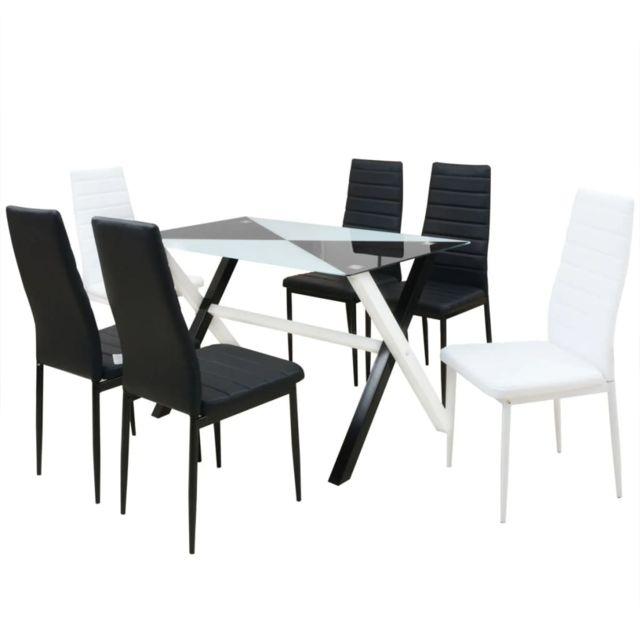 Vidaxl Mobilier de Salle à Manger 7 pcs Similicuir Table Chaise de Cuisine