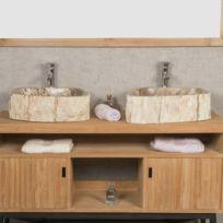 wanda collection double vasques de salle de bain en bois ptrifi fossilis 45 cm - Double Vasque En Pierre
