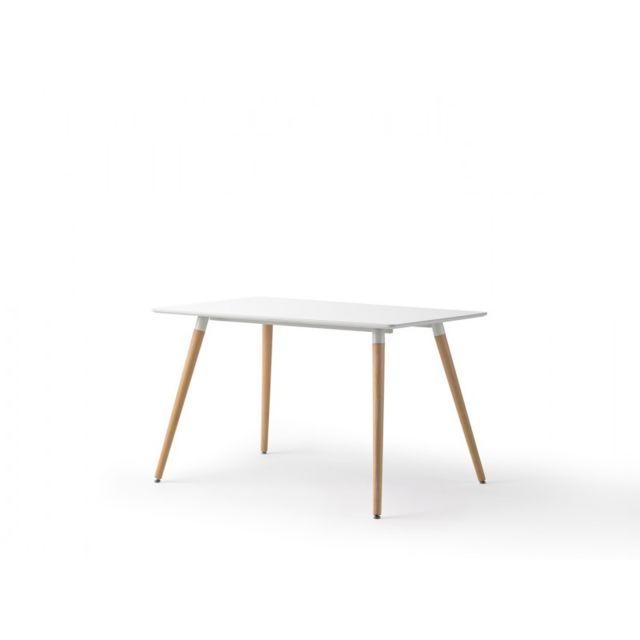 Ma Maison Mes Tendances Table à manger blanc laqué et pieds bois Cecile - L 120 x l 80 x H 75