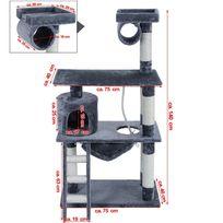 Rocambolesk - Superbe Arbre à chat griffoir niches avec échelle et balançoire 3 étages colonne renforcée 140 cm Pct63G neuf