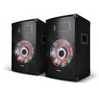 """Ibiza Sound - Paire d'enceintes passives Sono Dj Pa 10""""/25cm 2x250W à Leds intégrées 2 Voies BassReflex"""