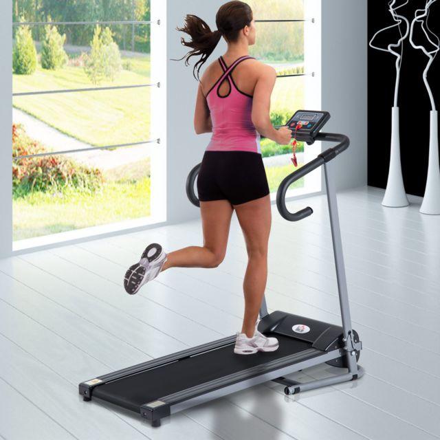 Homcom Tapis De Course Fitness Electrique Pliable 1 A 10 Km H