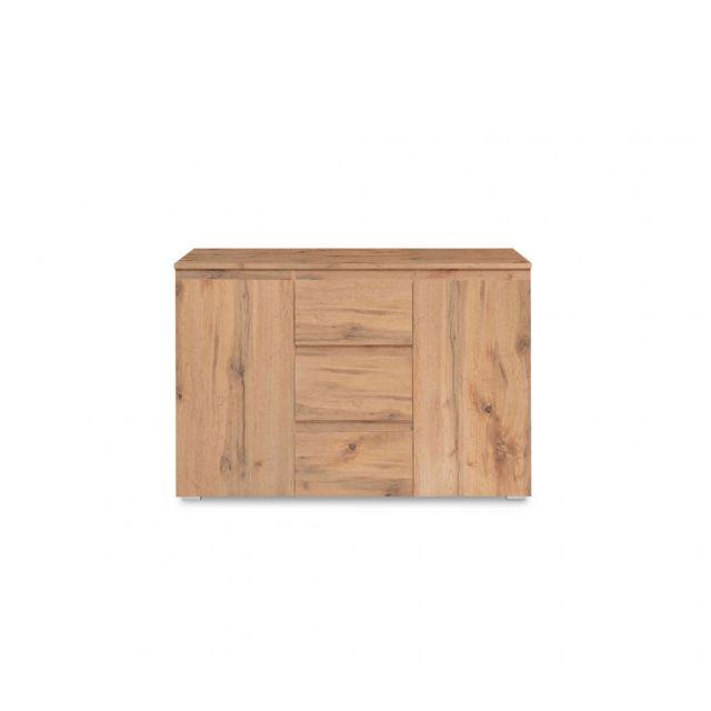TERRE DE NUIT Commode en bois imitation chêne naturel - CO7055