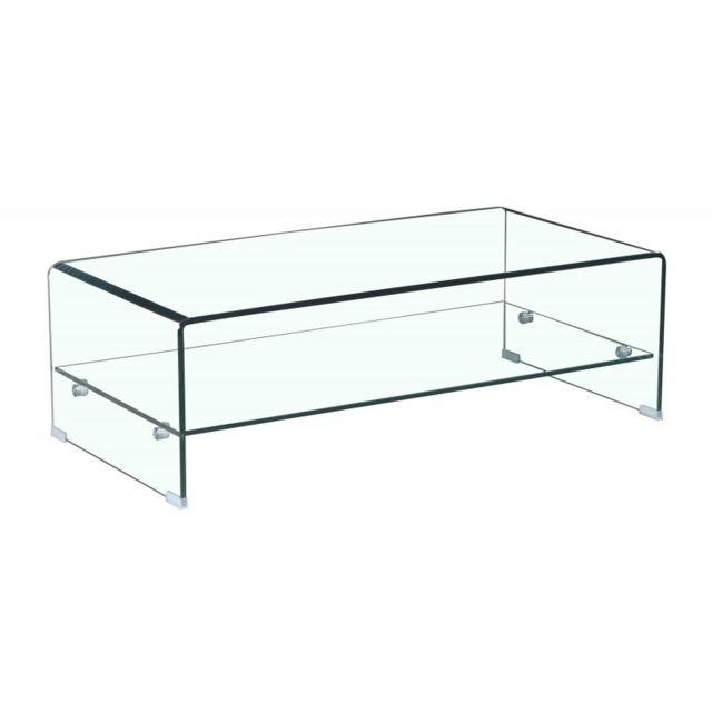 meubletmoi table basse en verre tremp avec tag re vitr e rectangulaire ice transparent. Black Bedroom Furniture Sets. Home Design Ideas