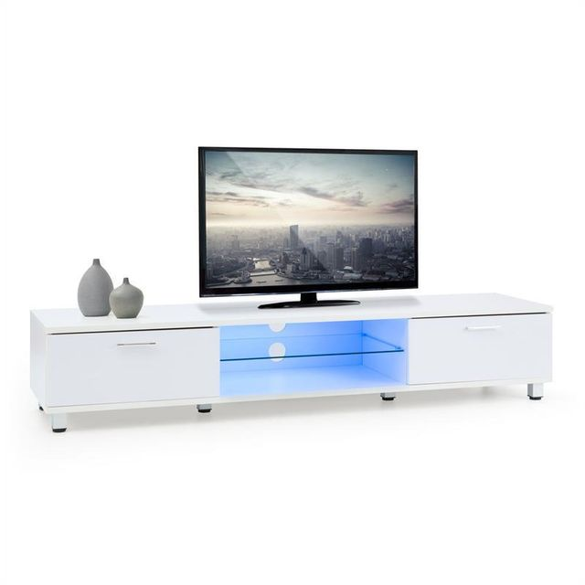 oneconcept keira meuble bas banc tv lumi res d 39 ambiance led blanc sebpeche31. Black Bedroom Furniture Sets. Home Design Ideas
