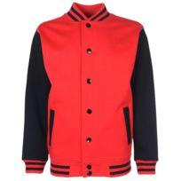 1adf22da1d8 Fdm - Veste style université américaine Fv001 - rouge et noir - mixte homme  femme