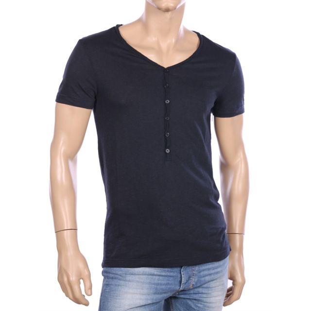 588031bc2ba5 Armani - Ea7 - sea world - T-shirt marine col V large homme 903020 6P625 - pas  cher Achat   Vente Tee shirt homme - RueDuCommerce