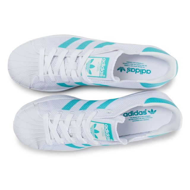 Adidas originals - Superstar Mesh Blanche Et Turquoise