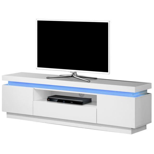 COMFORIUM - Meuble TV 165 cm à 2 portes + 1 tiroir et 1 niche en MDF ... a42c4dcdcaad