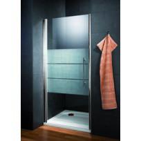 SCHULTE - Porte de douche pivotante, 90 x 190 cm, paroi de douche pivotante anticalcaire, décor dépoli light, profilé aspect chromé, Style