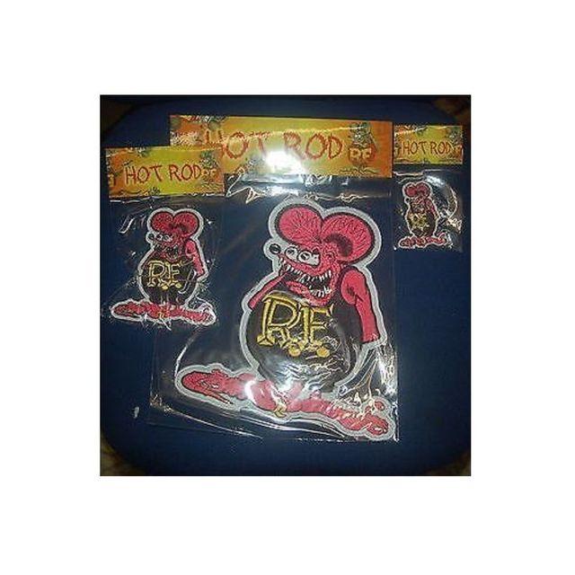 Universel Lot de 3 patch rat fink 8 13 26cm rose ecusson kustom rock