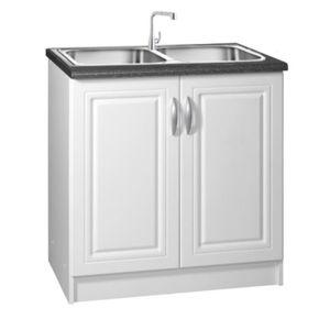 meublesline meuble de cuisine bas 80 cm sous evier dina blanc avec moulures pas cher achat. Black Bedroom Furniture Sets. Home Design Ideas