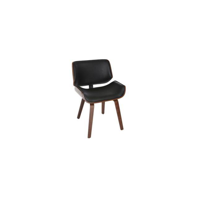 Miliboo Chaise design noir et bois foncé noyer Rubbens