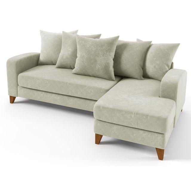 HABITAT ET JARDIN Canapé d'angle tissu Aztec - 3/4 places - Gris - Angle droit