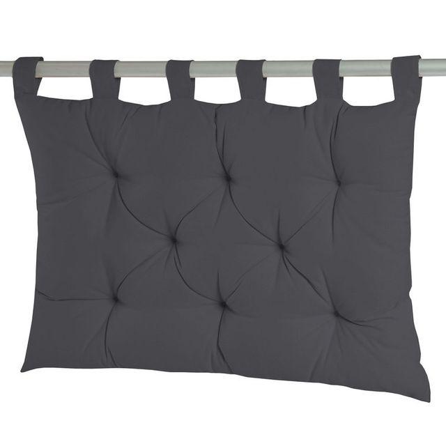 Dhf Coussin tête de lit à passants 8 capitons uni 100% coton 60x80cm Romeo - Gris métal