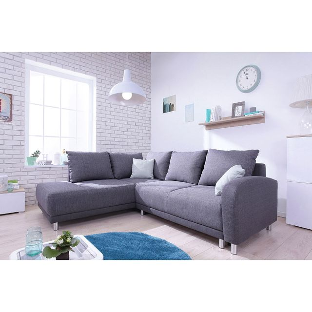 Bobochic Canapé convertible scandinave Minty Grand Angle gauche - tissu gris anthracite