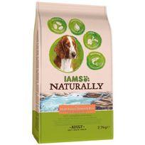 Iams - Naturally Croquettes Saumon Atlantique Nord & Riz - Toutes races - 2.7 kg - Pour chien adulte