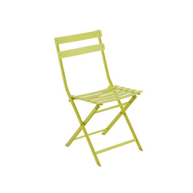 HESPERIDE - Chaise de jardin métal pliante Greensboro Absinthe 1