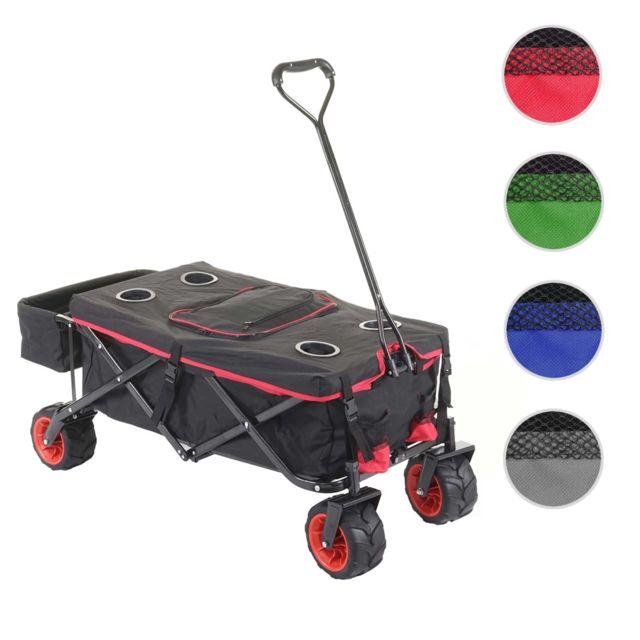 Mendler Chariot pliable Hwc-e62, charette à bras, pneus tout terrain ~ avec recouvrement et sac réfrigérant noir/rouge