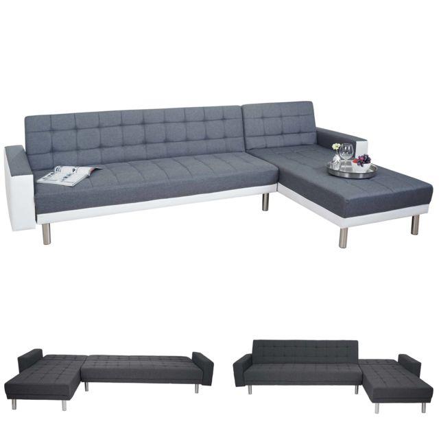 Mendler Canapé de salon Hwc-a97, canapé d'angle, canapé-lit, 298x190cm ~ tissu, gris / blanc