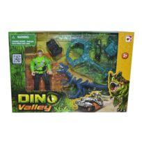 Chap Mei - Coffret Dino Valley : Dinosaure bleu et figurine explorateur