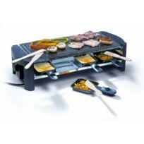 Domo - Grande Raclette / Pierre à griller naturelle polie - 8 personnes - Thermostat réglable